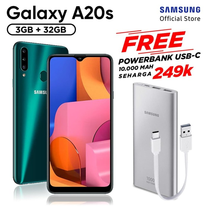 harga Samsung galaxy a20s [3/32gb] free powerbank samsung 10000 mah type c - hijau Tokopedia.com