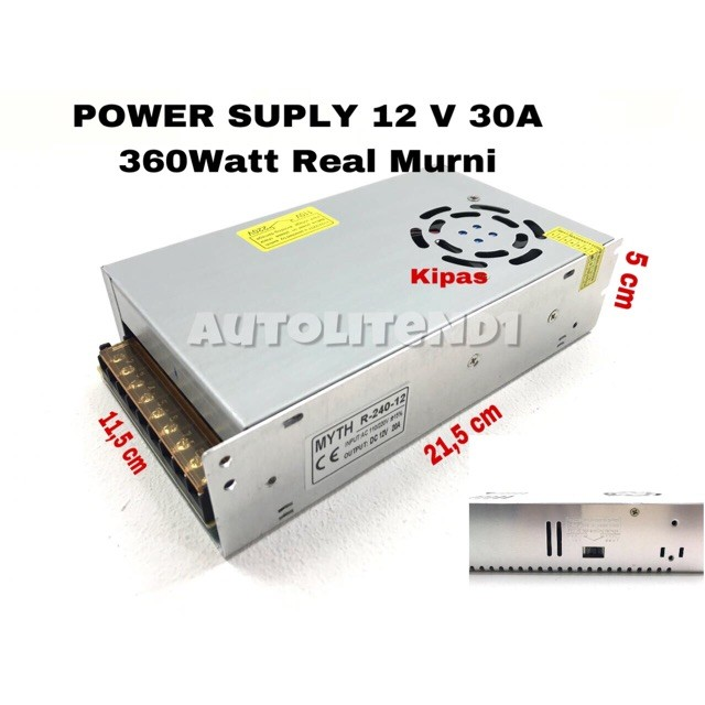 Foto Produk ADAPTOR PSU POWER SUPLY 12V 30A 360Watt REAL CAPACITY dari LUMBUNG COFFE