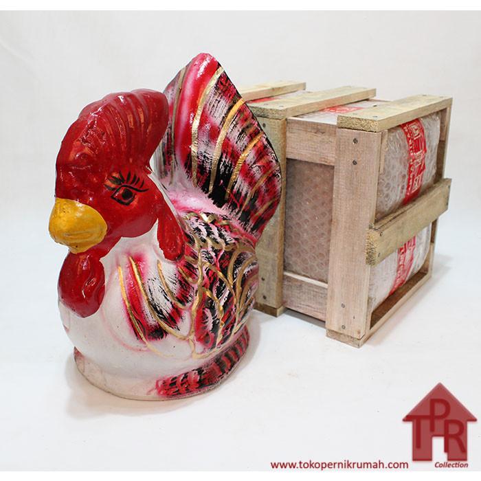 Foto Produk Celengan ayam jago tradisional-S + Krat Kayu - Merah gold dari Toko Pernik Rumah