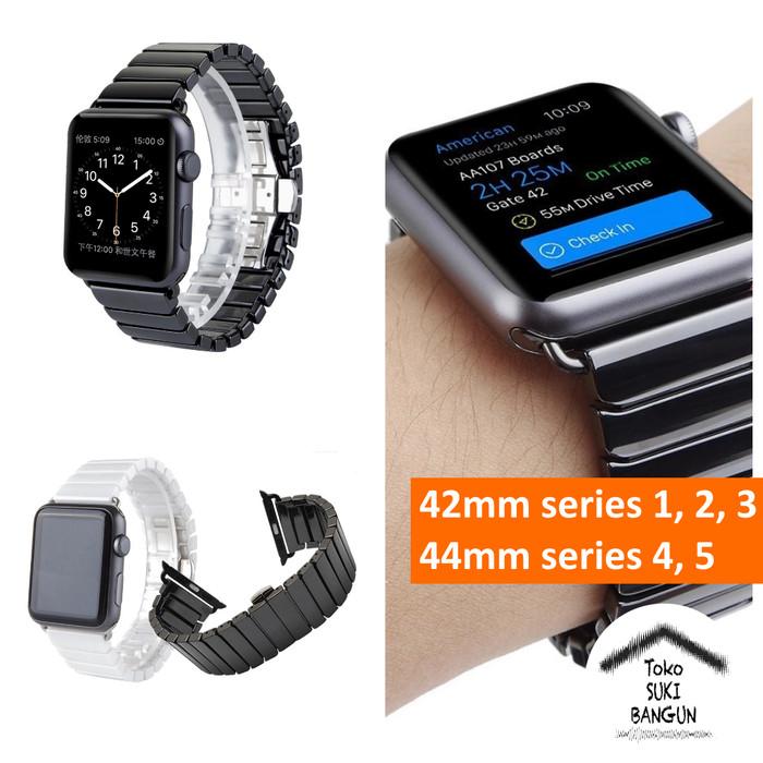 Foto Produk 42mm Apple Watch iWatch Tali Jam Solid CERAMIC Bracelet Band Strap - Black dari Toko Suki Bangun