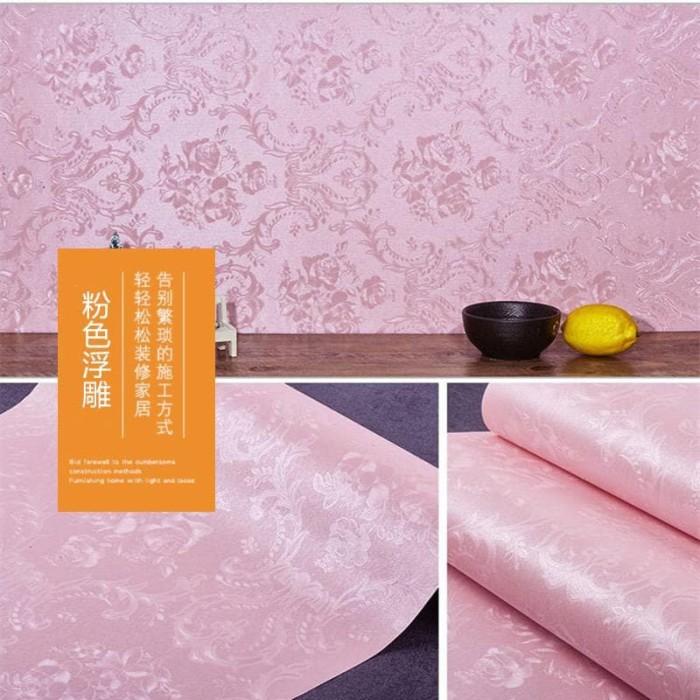 Foto Produk Polos pink Tekstur damask 45 cm x 10 mtr || Wallpaper dinding dari dedengkot wallpaper