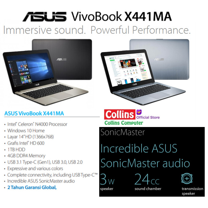 Foto Produk LAPTOP ASUS X441MA-GA011T - N4000|RAM 4GB|HDD 1TB|DVD|14"