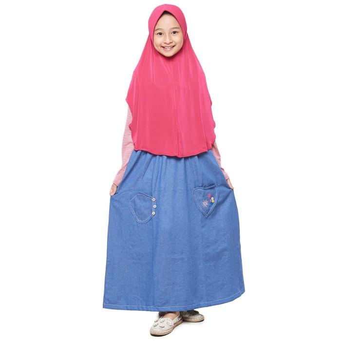 Foto Produk GDA-2 Merah Gamis Overall Anak usia 7-14 tahun dari na-muslimahkecil