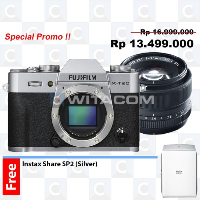 harga Fujifilm x-t20 / xt20 body only silver kit xf 35mm f1.4 r Tokopedia.com