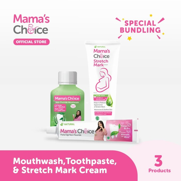 Foto Produk Mama's Choice Stretch Mark Cream, Toothpaste, & Mouthwash dari MamasChoiceID