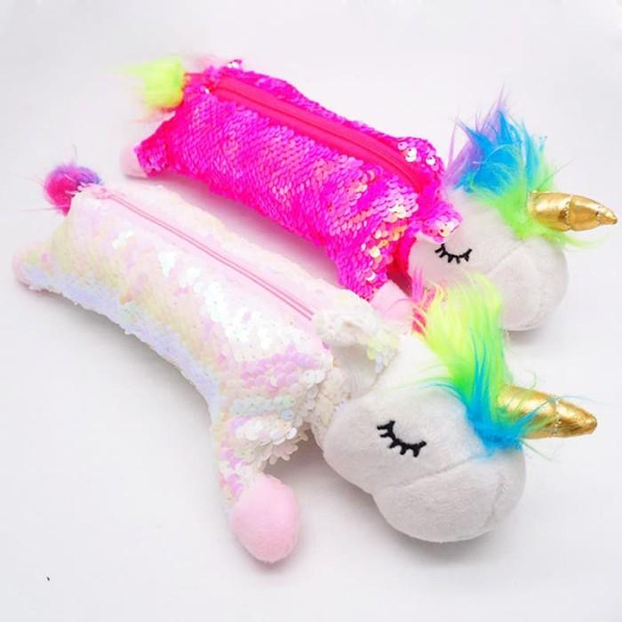 Foto Produk TP0058 Tempat Pensil Kawaii Pensil Unicorn Sequien Boneka Pencil Case - Merah Muda dari EnnWen Online Store