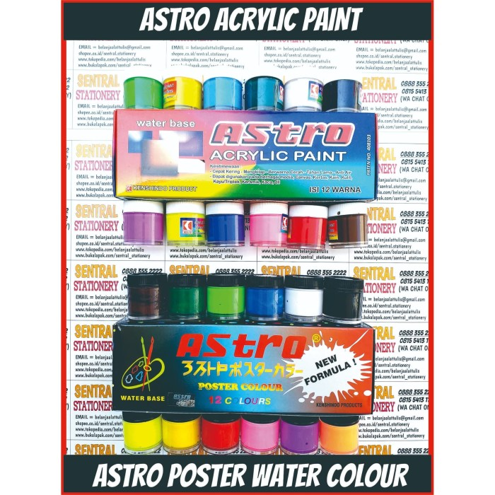 Foto Produk astro asturo cat air akrilik spotlight acrylic paint 20 cc 12 warna dari Sentral Stationery