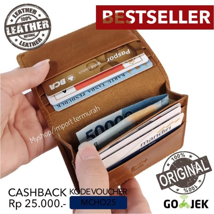Foto Produk RHYM Original - Dompet Kulit Asli - Dompet Kartu Pria - R23 - cokelat muda dari Toko Import Termurah