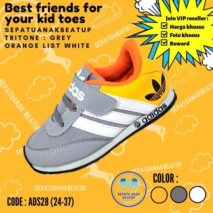 Jual Ads 28 Sepatu Sekolah Anak Murah Abu Putih Oren 34