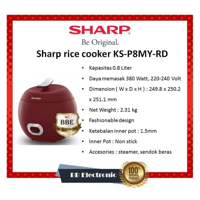 Foto Produk Sharp rice cooker KS-P8MY-RD dari BB ELECTRONIC