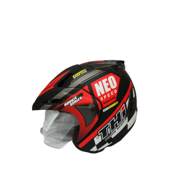 Jual Helm Half Face THI Neo Red Black Doff SNI Dan ...