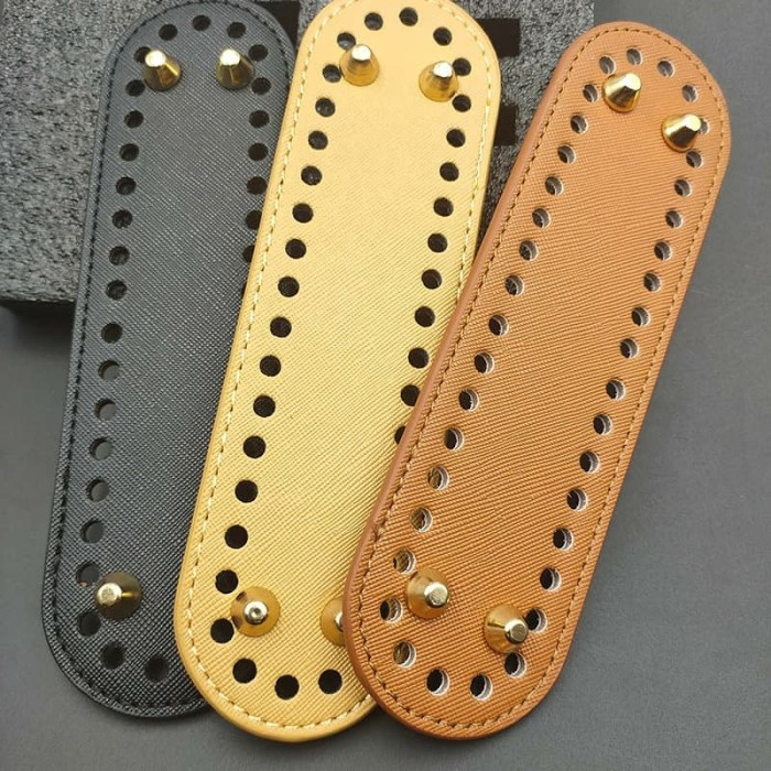 Foto Produk alas tas rajut lonjong bahan kulit premium quality 5*18cm - Putih dari Primeivon Craft