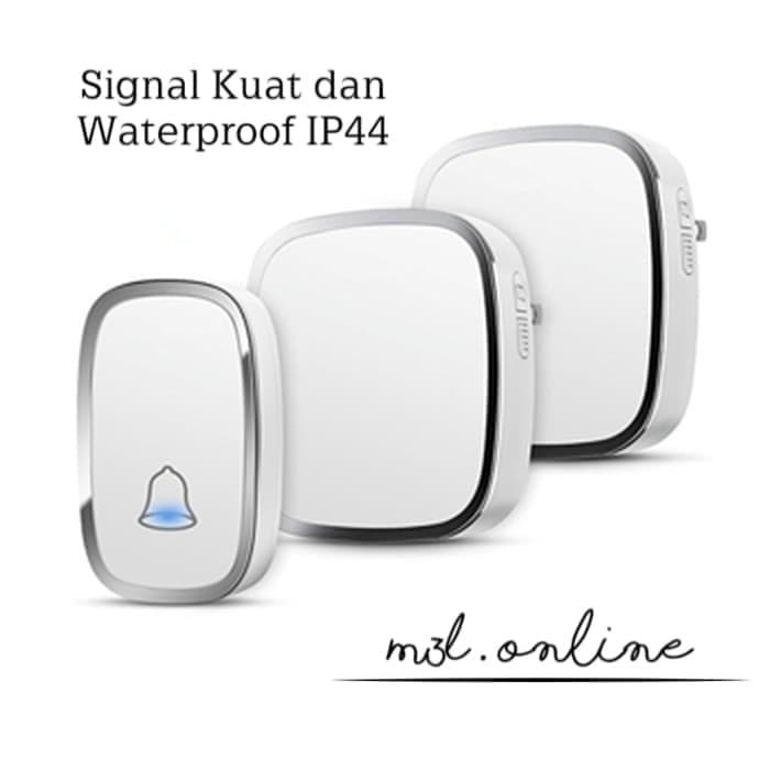 Foto Produk Bel Rumah Wireless Door Bell Waterproof Pintu 2 Receiver dari M3L