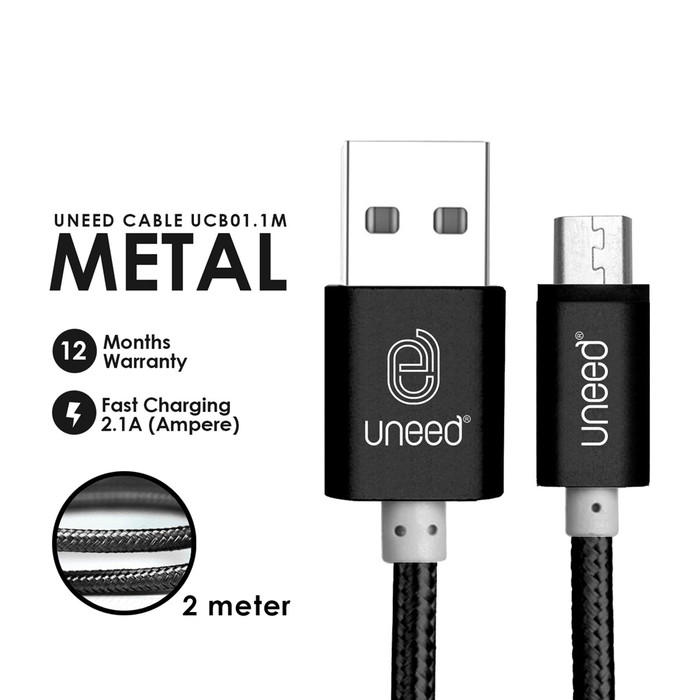Foto Produk Uneed Nylon Kabel Data Micro USB 2M Fast Charging 2.1A - UCB01.1M - Hitam dari Uneed Indonesia