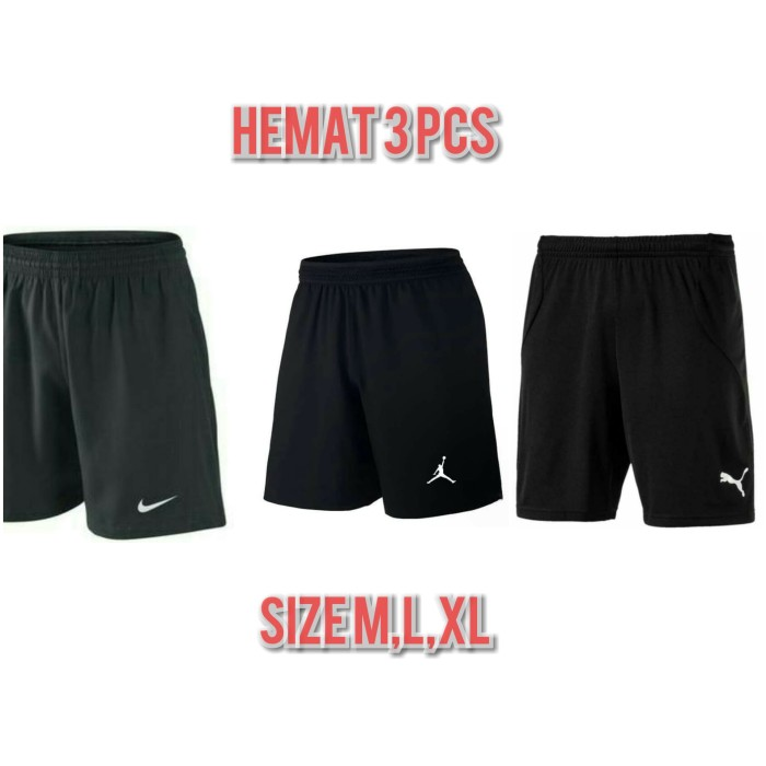 Foto Produk [ Hemat 3 pcs ] Celana pendek pria olahraga sport santai GO hitam - Hitam, M dari Adzqia shop