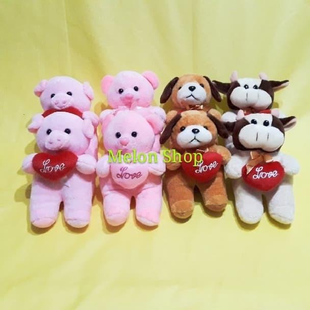 Foto Produk Boneka Mini Lempar Wedding 4 Motif Dog Bear Pig Cow Yelvo SNI - Dog dari melonshops