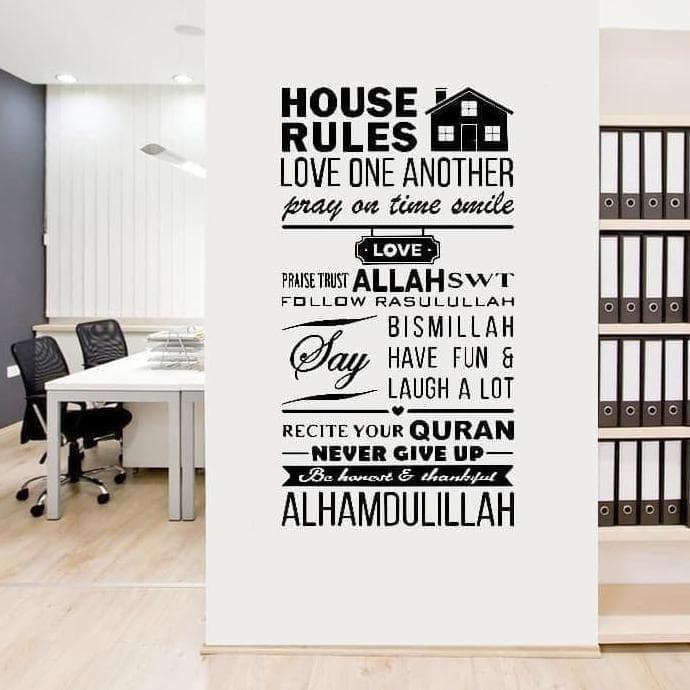 jual quotes kata bijak house rule wallsticker stiker dinding murah