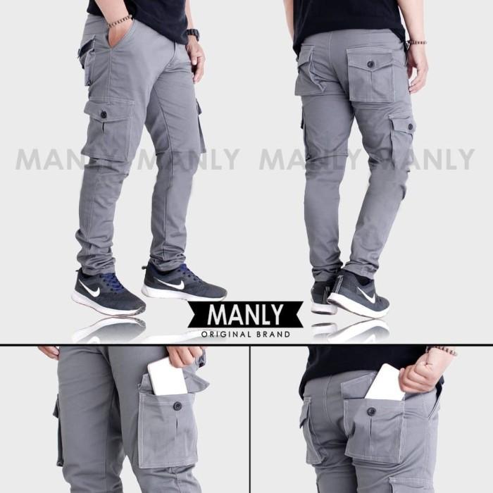 Foto Produk Celana cargo panjang pria abu muda dari Farhan_Store