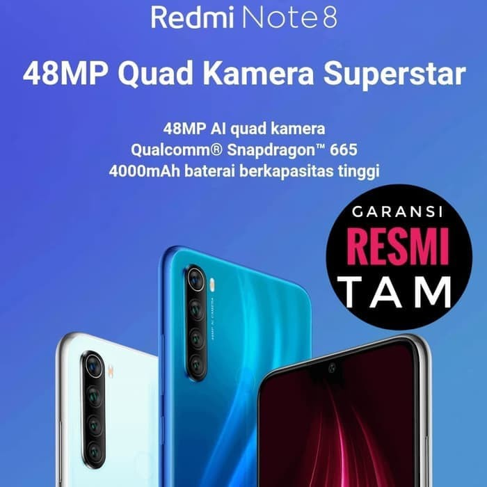 Foto Produk Xiaomi Redmi Note 8 TAM Garansi Resmi Indonesia 4/64 RAM 4GB 64GB - Hitam dari Laku9