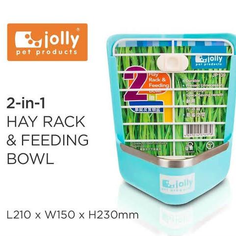 Foto Produk JP139 Jolly Hay Rack and Feeding Bowl Blue Wadah Makan Rumput Kelinci dari Hime petshop