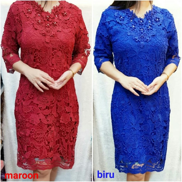 Foto Produk DRESS BRUKAT DRESS BROKAT IMPORT DRESS BIGSIZE - Biru, XXXL dari bajuready.solo