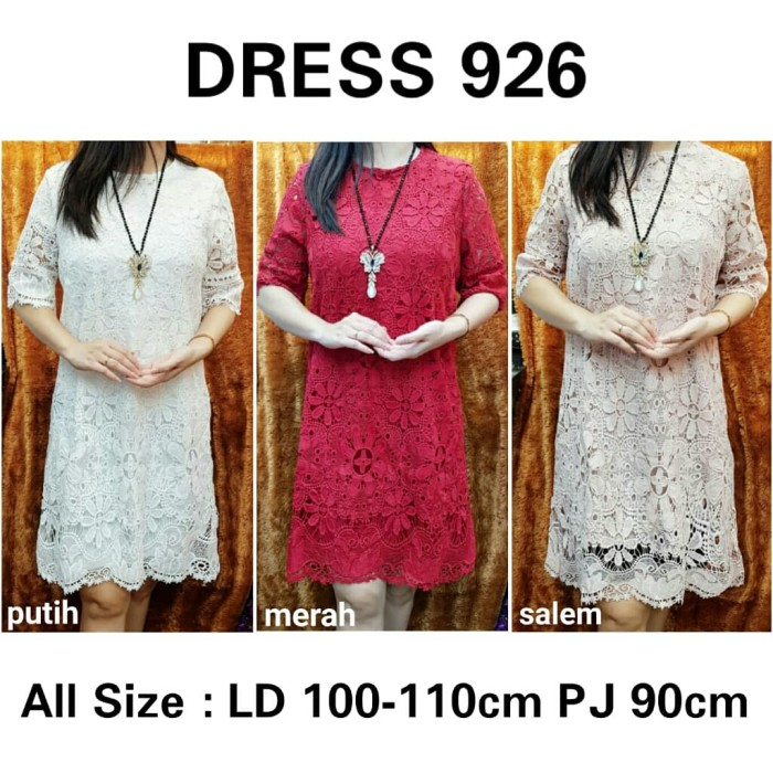 Foto Produk DRESS BRUKAT DRESS BROKAT IMPORT DRESS IMPORT - Putih dari bajuready.solo
