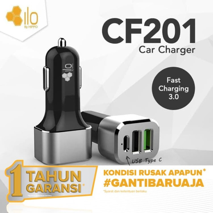Foto Produk Hippo ILO CF201 Car Charger Mobil Quick Fast Charging 3.0 Simple Pack dari iLo Official Store