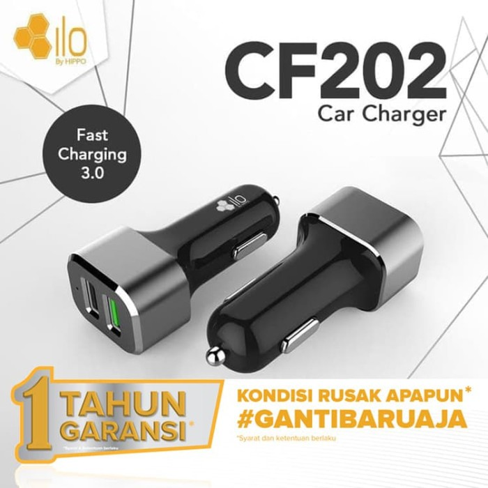 Foto Produk Hippo ILO CF202 Car Charger Mobil Quick Fast Charging 3.0 Simple Pack dari iLo Official Store