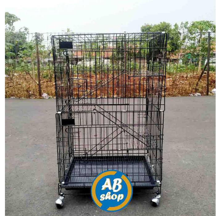 Foto Produk KHUSUS GOJEK/GRAB Kandang kucing tingkat 3 Ukuran 60x42x90 - Hitam dari AMMAR BIRD SHOP