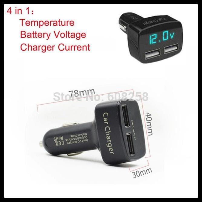 Foto Produk DS WELCOME USB Car Charger 4 In 1 Ampere Voltmeter Temperatur Meter dari rahmawatih