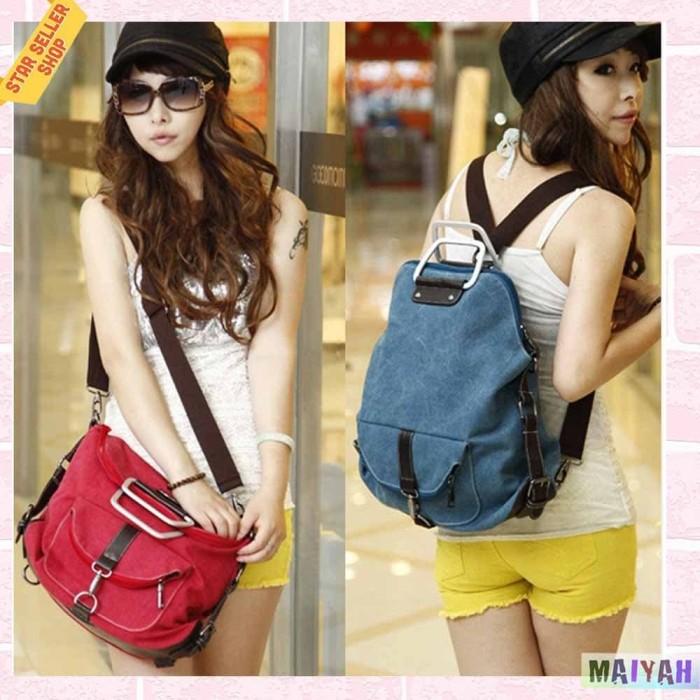 Foto Produk Tas 2 In 1 Backpack Tas Selempang wanita pria / tas slempang ORIGINAL - Blue dari Spidernet_boyolali