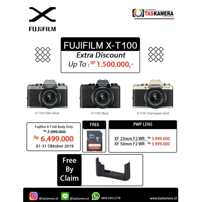 harga Kamera digital fujifilm x-t100 body only / kamera fujifilm xt100 bo Tokopedia.com