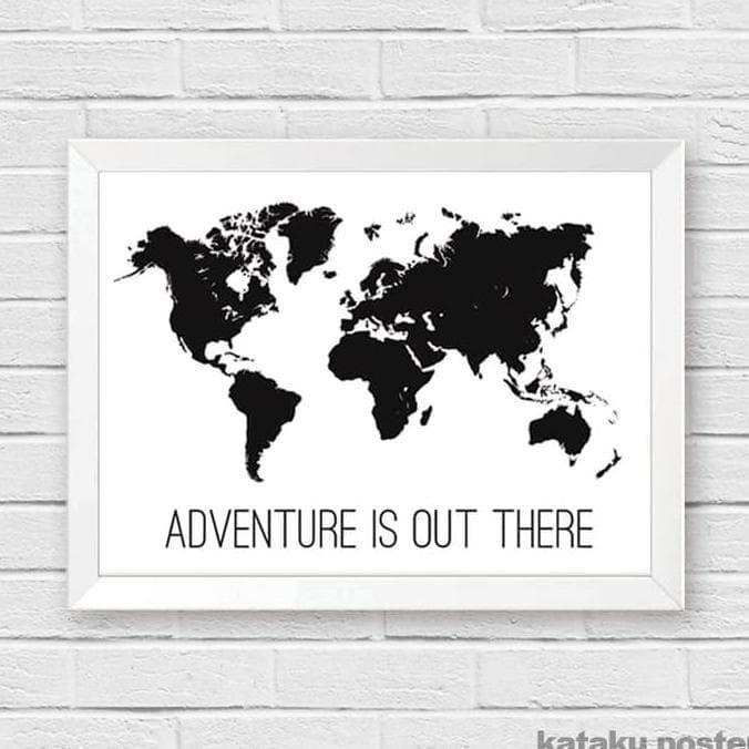 Jual Poster Peta Dunia Adventure Is Out There Pigura Hiasan Rumah Kota Bekasi Tri Supantoshop Tokopedia