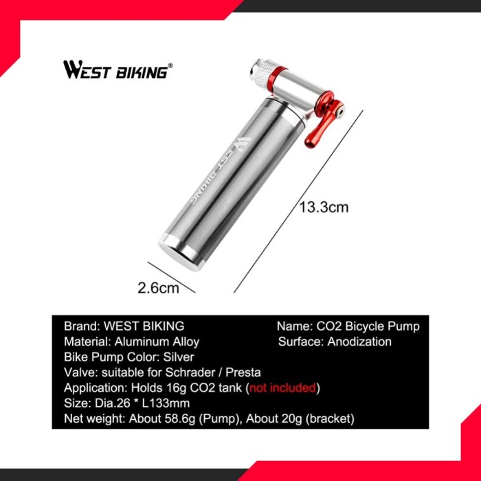 Portable Bicycle Pump Aluminum Alloy Ultralight Air CO2 Inflator Bike Cycling