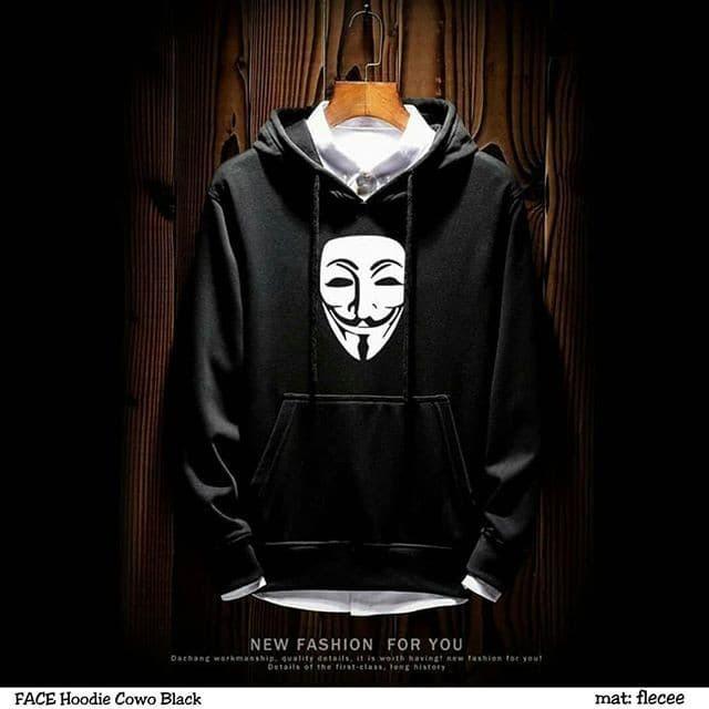 Foto Produk Face Hoodie Sweater Jaket Cowok Sweater Pria Hitam Abu dari Amazing.Stuff