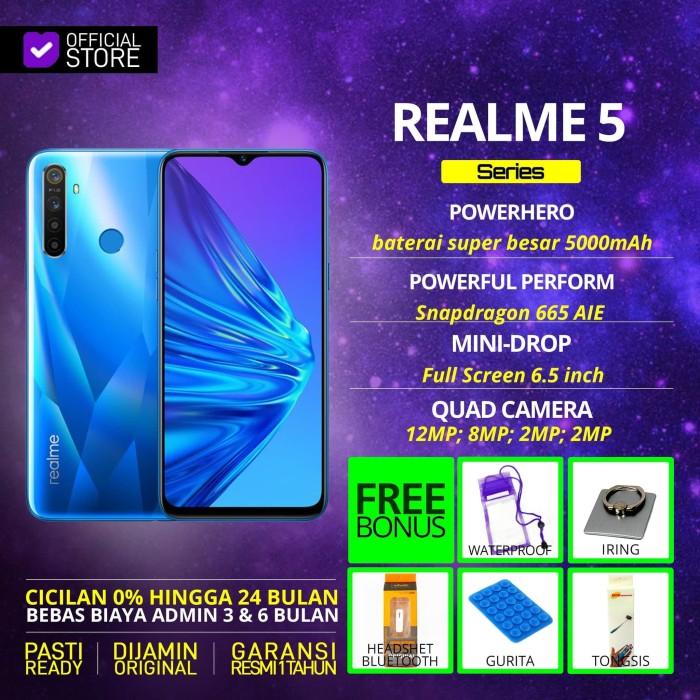 harga Realme 5 3/32gb 3/64gb 4/128gb blue purple garansi resmi - bonus tiga 3gb 32gb Tokopedia.com