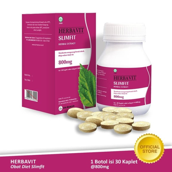 Foto Produk Herbavit Slimfit Obat Diet Herbal Kaplet 30x800 mg - Botol dari Air Mancur Official Shop