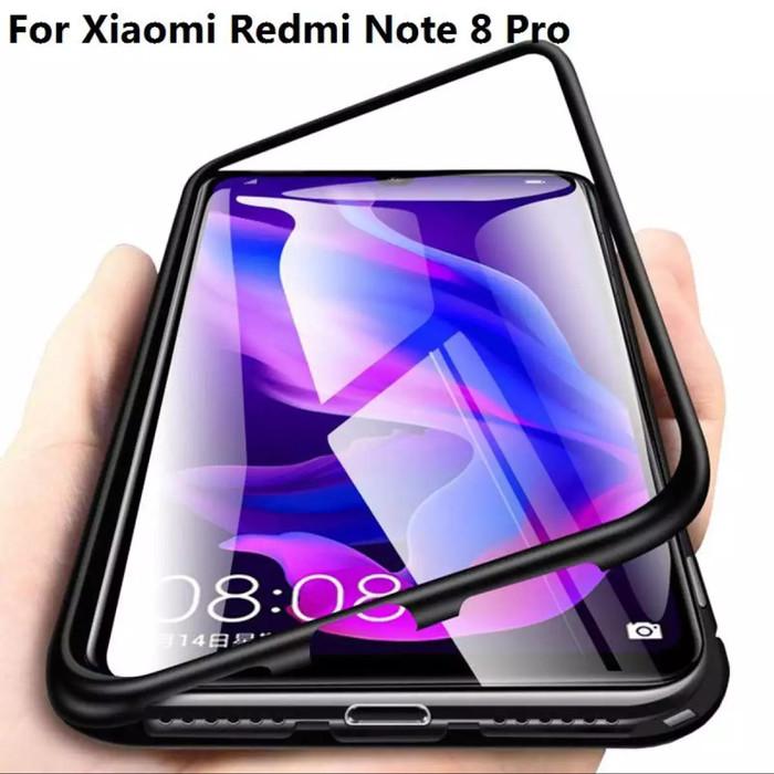 Foto Produk Case Magnet Magnetic Glass Casing Cover Metal Xiaomi Redmi Note 8 Pro - Hitam dari Vinvend ACC