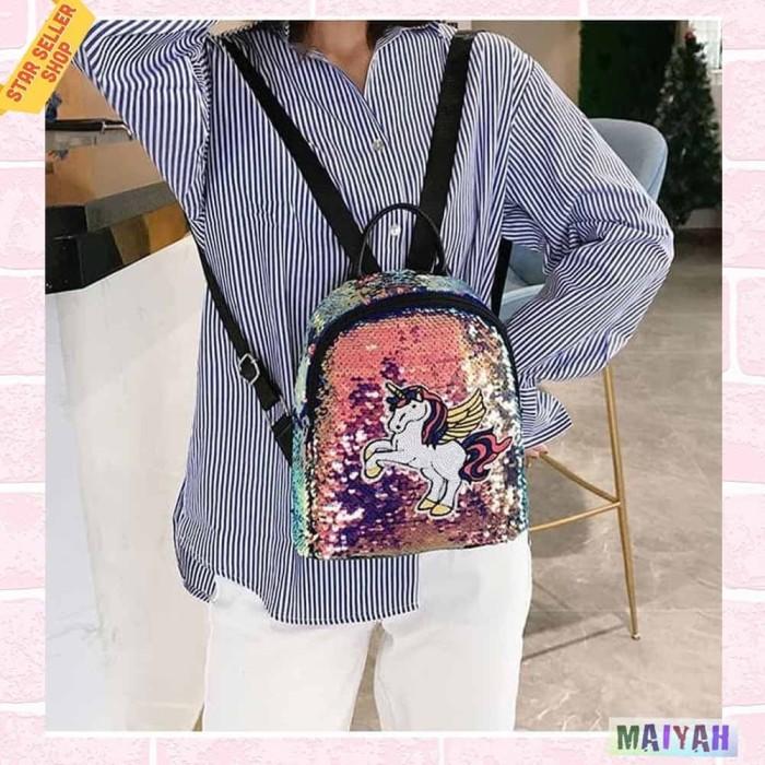 Foto Produk Tas Ransel Unicorn Backpack mini Kecil lucu kualitas Premium Original - Pink Blue dari Spidernet_boyolali