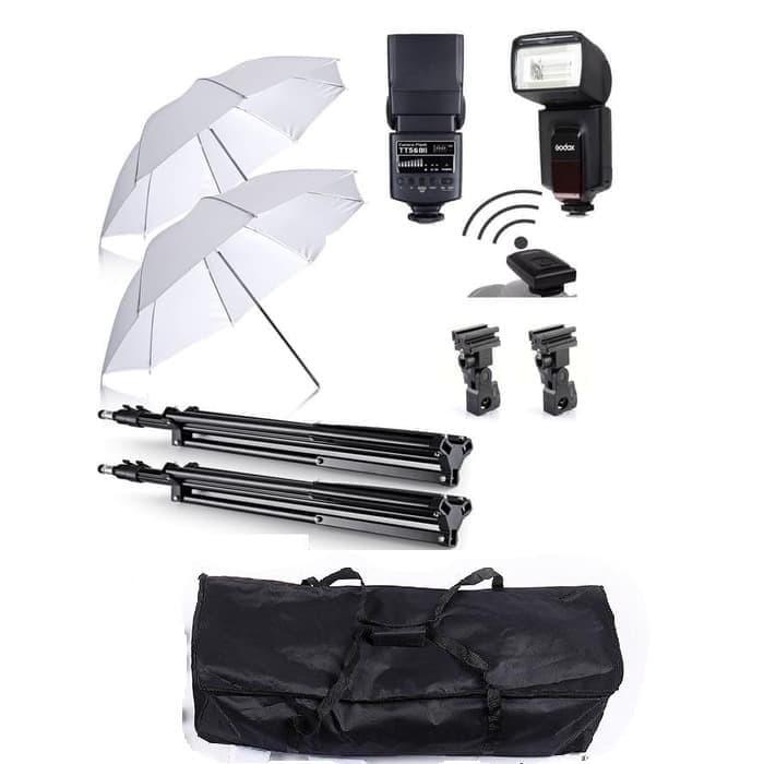 Foto Produk Paket Studio Payung + Flash Godox TT-560 II Internal Trigger dari Grosir Aksesoris Kamera