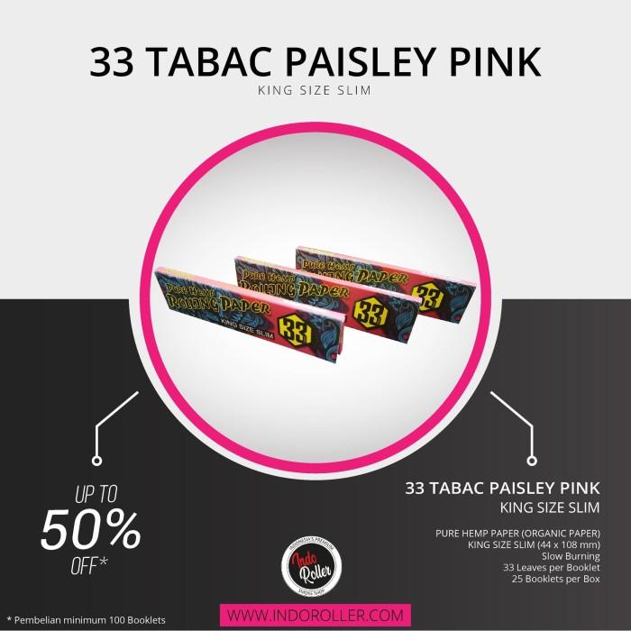 Foto Produk 33 Tabac Paisley Pink King Size Slim Pure Hemp Paper dari INDOROLLER
