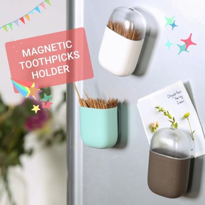 Foto Produk Magnetic Toothpicks Holder Tempat Tusuk Gigi Magnet Tempelan Kulkas - Cokelat dari Ahoki Store