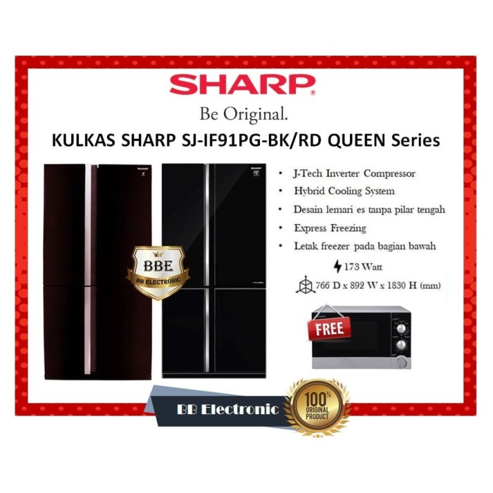 harga Kulkas sharp sj-if91pg-bk queen series hiybrifd cooling system Tokopedia.com