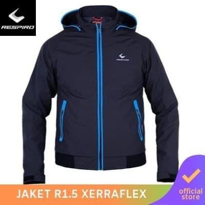 Respiro xerraflex black blue | jaket motor windproof detachable hoodie - l