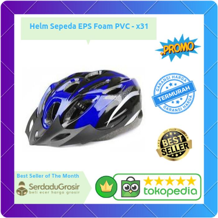 Foto Produk Helm Sepeda Gunung MTB Road Bike EPS Foam PVC Shell BONUS VARIASI HELM - Biru dari SERDADU GROSIR
