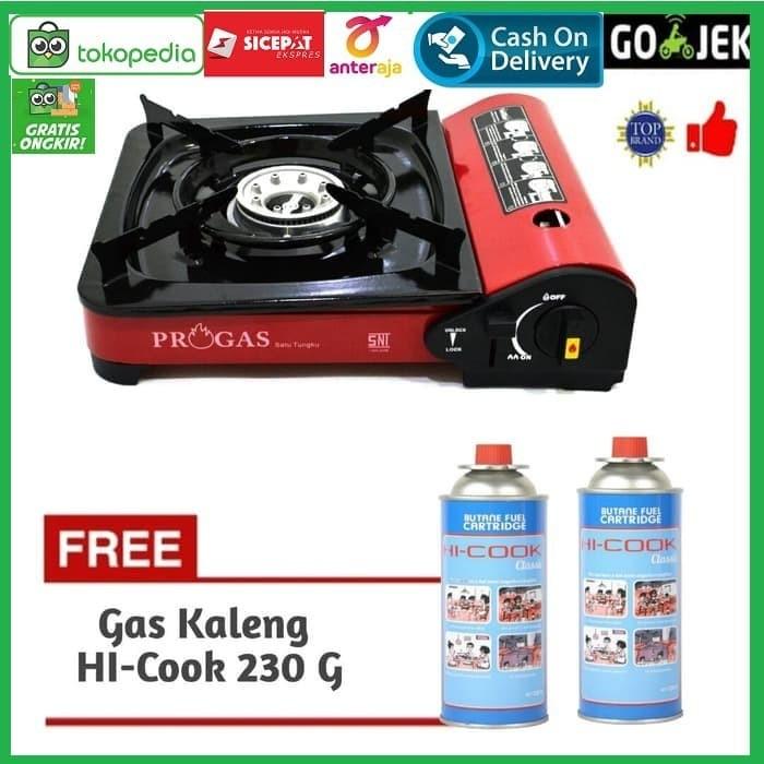 Foto Produk Paket Progas Kompor Portable / Camping + 2 Gas Kaleng HI-COOK 230 G dari BLORA ELECTRIK