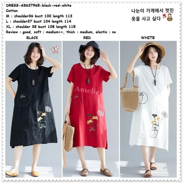 Foto Produk AB637965 Midi Dress Wanita Korea Import Merah Putih Hitam White Red dari Amelie Butik Wholesale