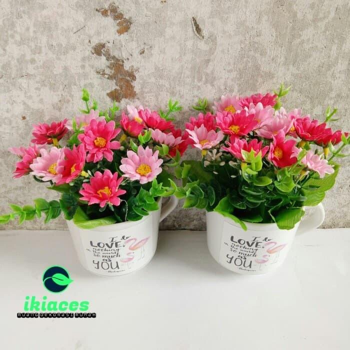 Foto Produk Bunga Aster Vas Bunga Plastik Artificial Dekorasi Rumah Berkualitas dari ikiaces