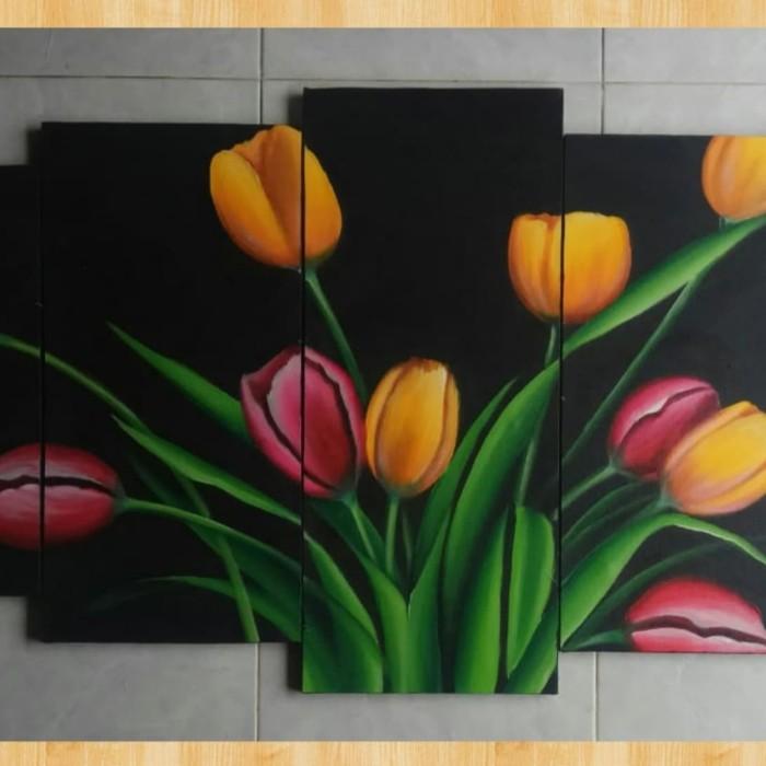 Jual Lukisan Panel Bunga Tulip Merah Kuning 5in1 Kab Gianyar Wayan Sukawati Painting Tokopedia