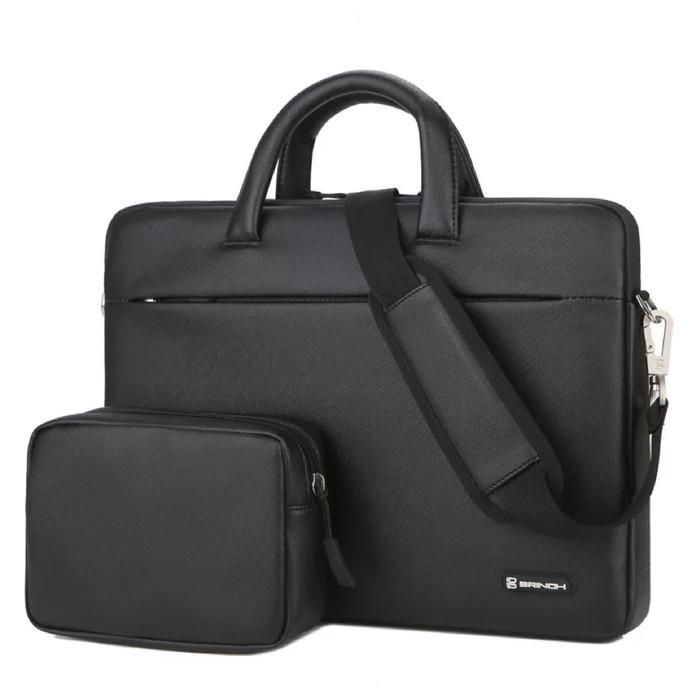 Foto Produk Tas Laptop Selempang BRINCH PU leather with free pouch 14 inch - Black dari ipeka.netmedia